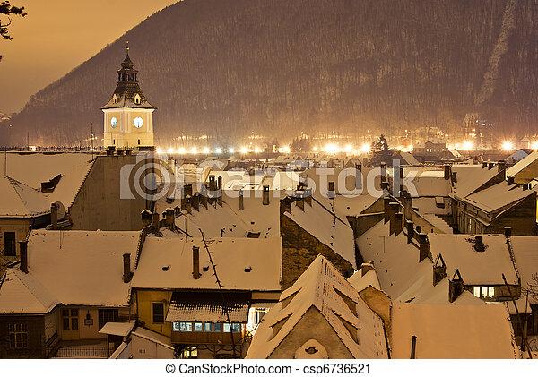 Brasov center in a winter night, Romania - csp6736521