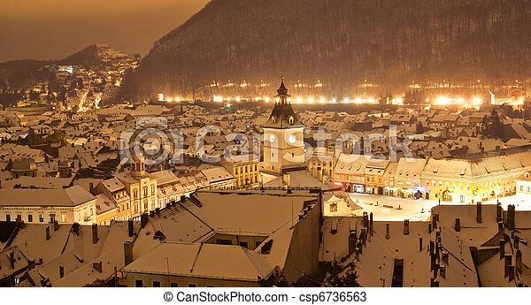 Brasov center in a winter night, Romania - csp6736563