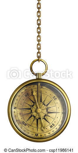 Brass Antique Compass Hanging On Chain Isolated White
