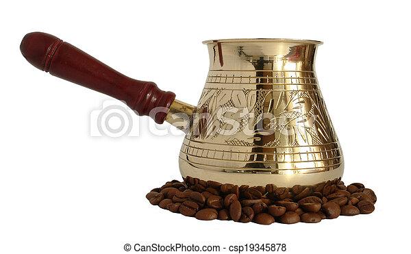Brass coffee pot - csp19345878