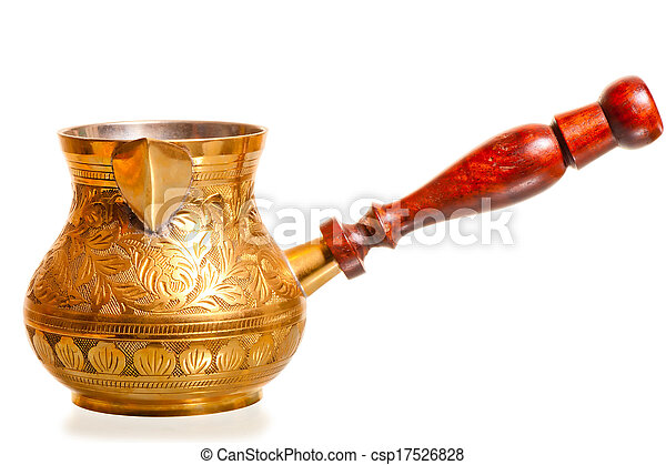 brass coffee pot with wooden handle on a white background - csp17526828