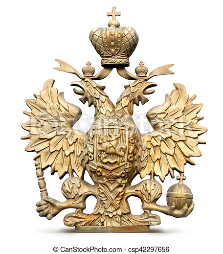 Photo Brass Double Headed Eagle Symbol Of Russia