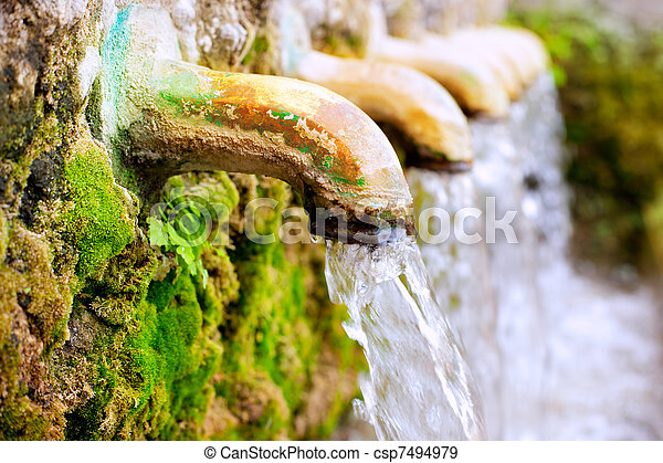 brass fountain water source spring - csp7494979