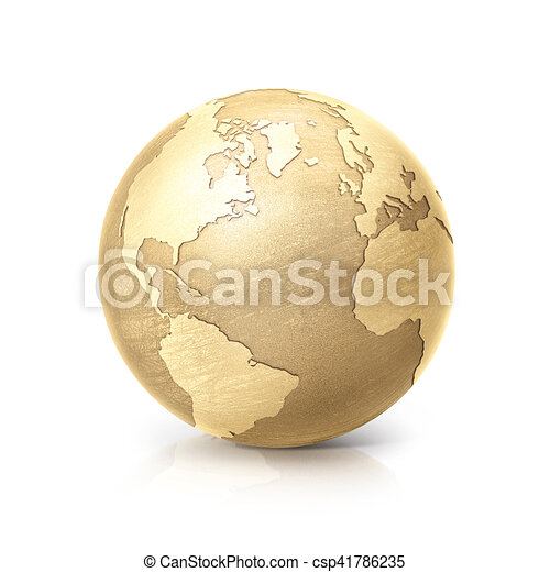 brass globe 3D illustration north and south america map - csp41786235