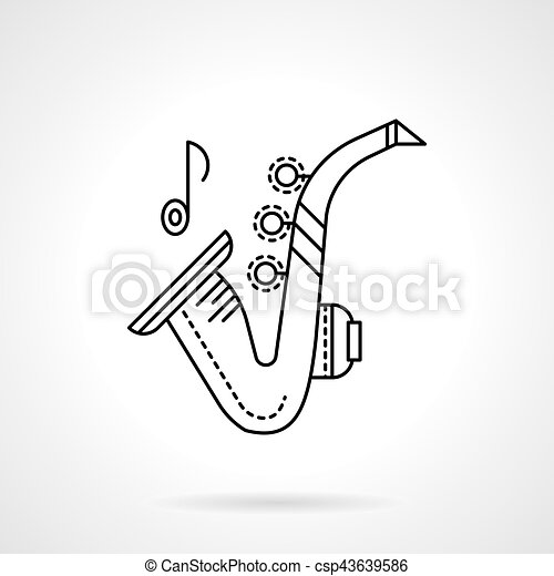 Brass melodies flat line vector icon. Sax - csp43639586