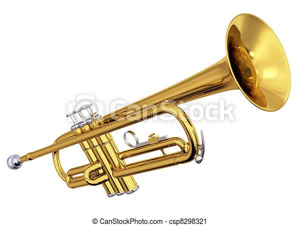 Brass trumpet on white background - csp8298321