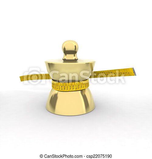 brass weight with tape meter - csp22075190