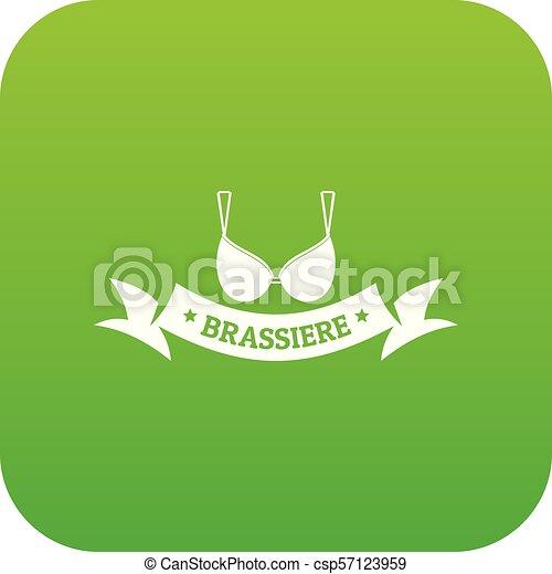 Brassiere summer icon green vector - csp57123959