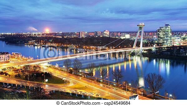 Bratislava bridge and Danube - csp24549684