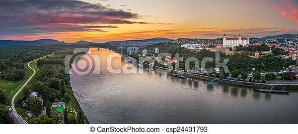 Bratislava Castle at Sunset - csp24401793