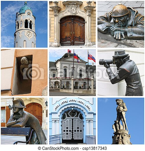 Bratislava landmarks collage - csp13817343