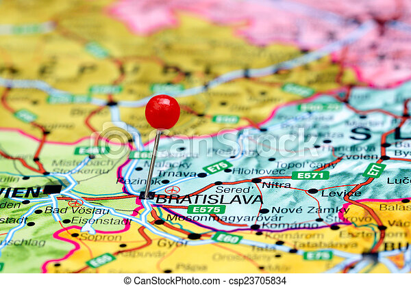 Bratislava pinned on a europe map Photo of pinned stock photos