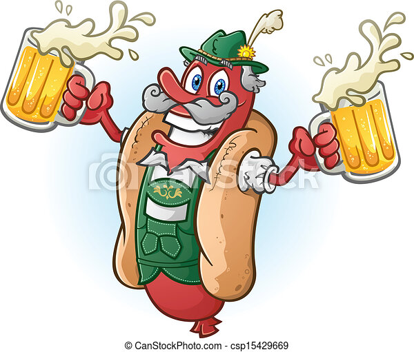 Bratwurst Hotdog Beer Cartoon - csp15429669