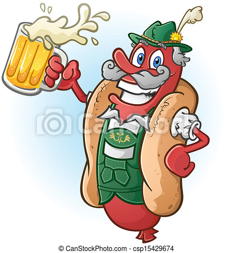 Bratwurst Hotdog Beer Cartoon - csp15429674