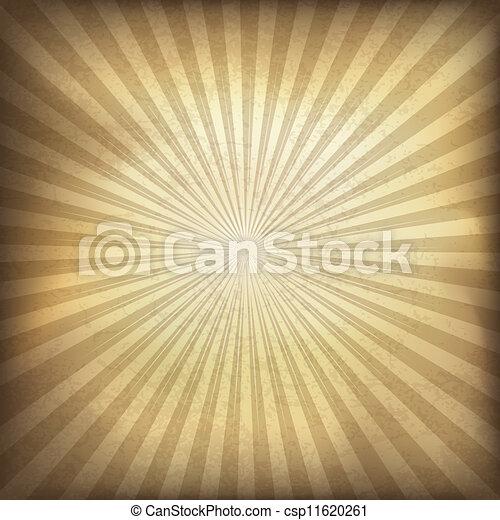 brauner, abbildung, eps10., hintergrund., vektor, retro, sunburst - csp11620261