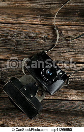 brauner, altes , hölzern, fotoapperat, retro, hintergrund - csp41265950