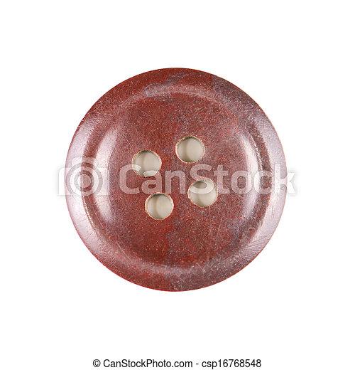 Ein alter brauner Knopf, isoliert auf weißem Hintergrund - csp16768548