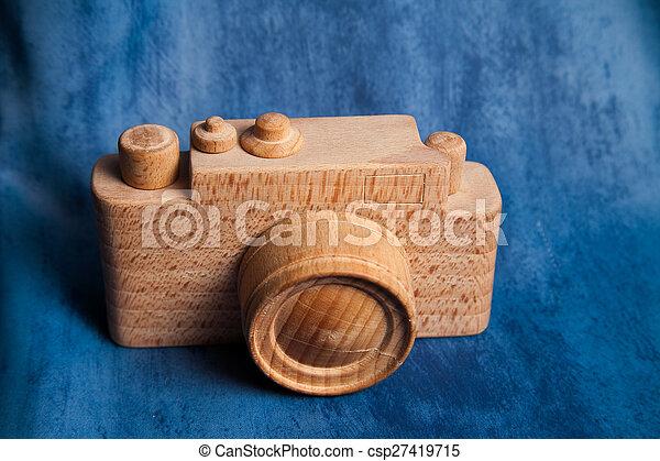 brauner, altes , zimmer, hölzern, weinlese, text., hintergrund., fotoapperat - csp27419715