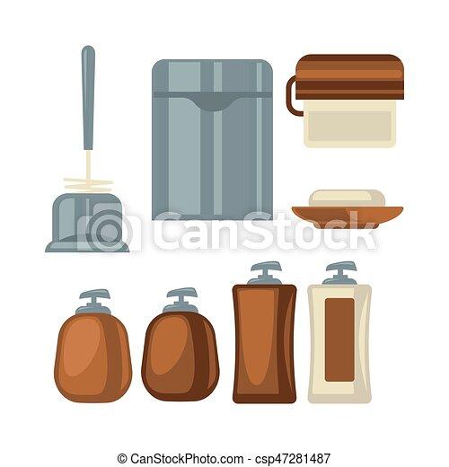 Brauner, Badezimmer, Sachen, Grau, Sammlung, Farben   Csp47281487