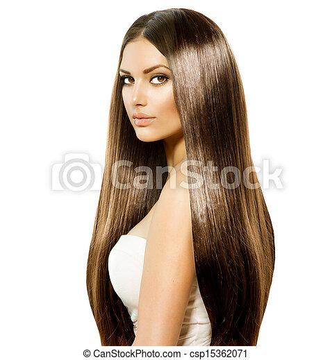 Schöne Frau mit langem, gesundem und glänzendem braunem Haar - csp15362071