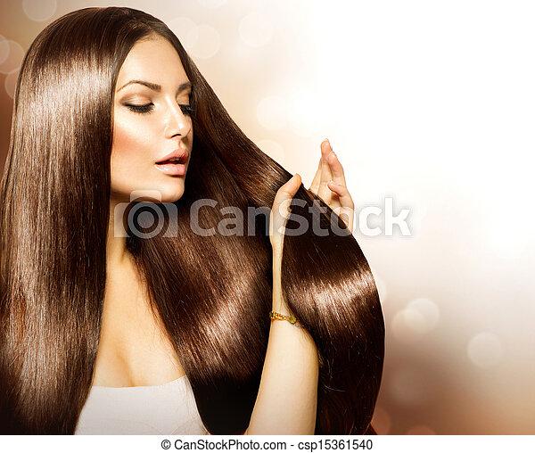 brauner, frau, schoenheit, sie, gesunde, langes haar, berühren - csp15361540