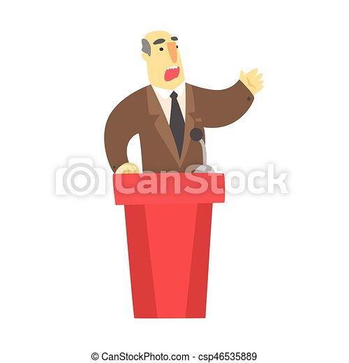 brauner, hinten, tribun, rote klage, öffentlichkeit, spricht, mann - csp46535889