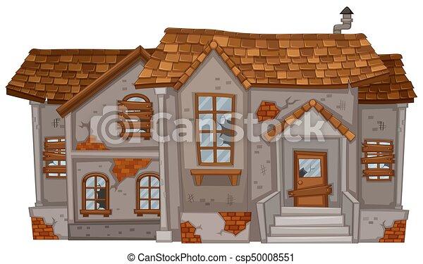 Captivating Brauner, Mauerstein, Altes , Dach, Haus   Csp50008551