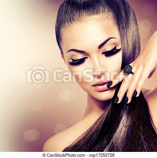 brauner, mode, schoenheit, gesunde, langes haar, modell, m�dchen - csp17250728