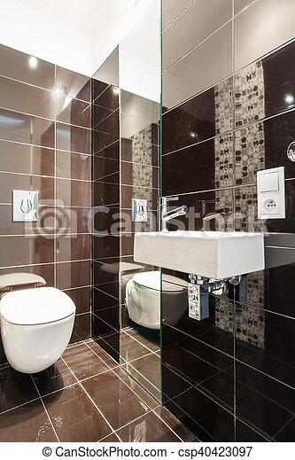 brauner, modern, toilette