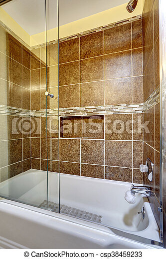 Brauner, stein, auf, dusche, fliese, schließen. Brauner, stein ...