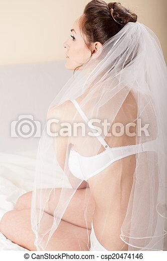 braut, weißes, schleier, attraktive, schalfzimmer - csp20474146