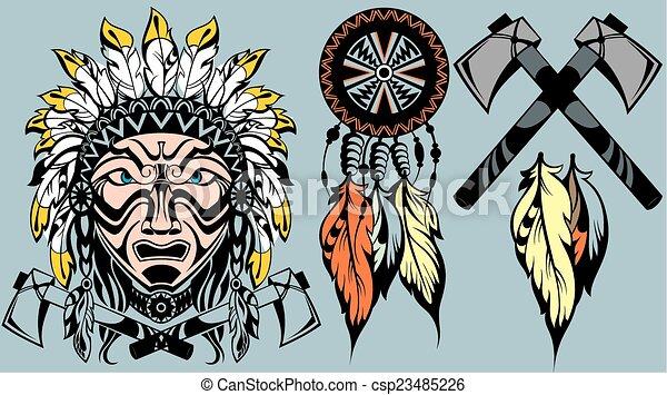 Brave American Indian warrior head  - csp23485226