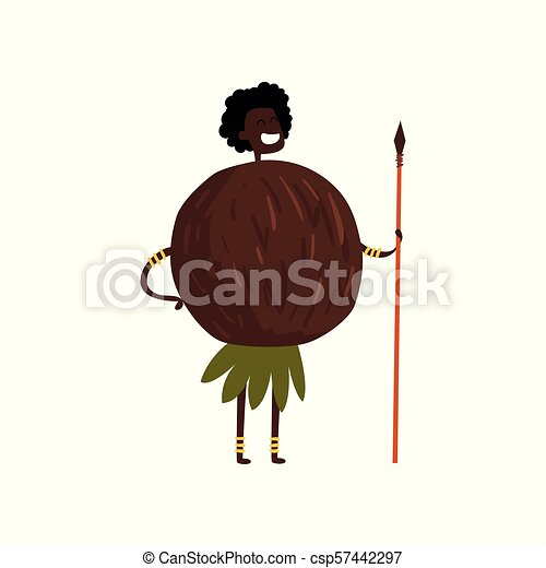 Brave coconut cartoon character with spear, man in fruit costume vector Illustration on a white background - csp57442297