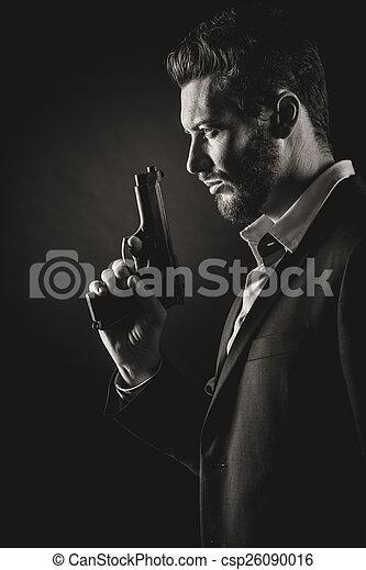 Brave man with handgun - csp26090016