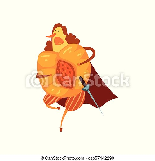 Brave peach cartoon character with sword, man in fruit costume vector Illustration on a white background - csp57442290