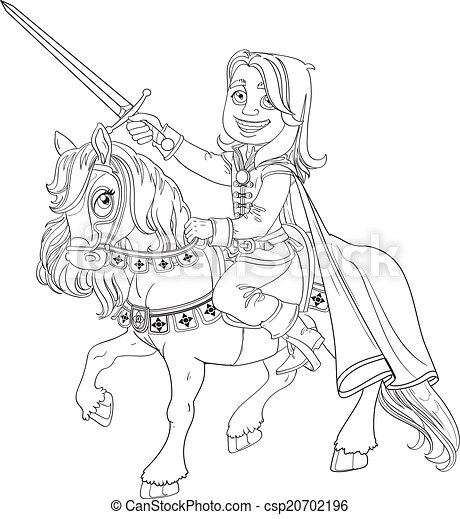 Brave Prince Charming on a horse outlined - csp20702196