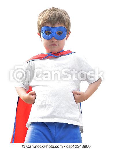 Brave Super Hero Boy on White - csp12343900