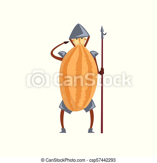 Brave warrior melon cartoon character with spear, man in fruit costume vector Illustration on a white background - csp57442293