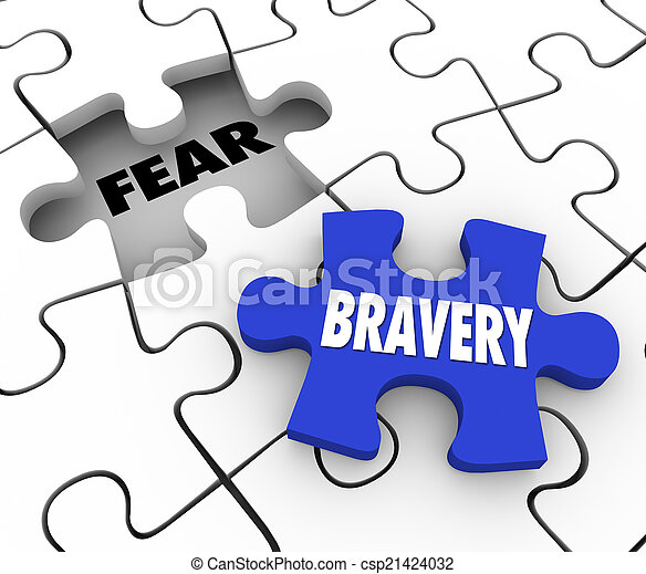 Bravery Vs Fear Puzzle Piece Filling Hole Courage Confidence - csp21424032