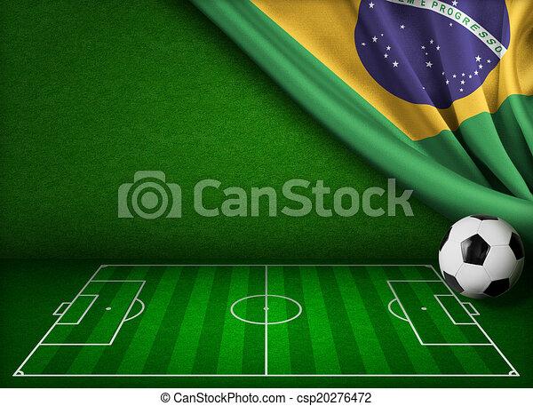 brazília, fogalom, csésze, háttér, világ, futball - csp20276472