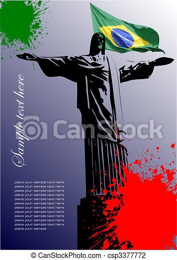 brazília, kép, fedő, lobogó, brazíliai, brosúra - csp3377772