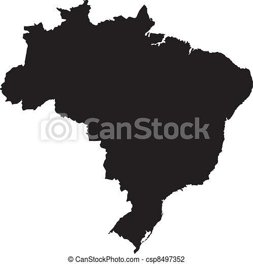 brazília, térkép, vektor, ábra - csp8497352