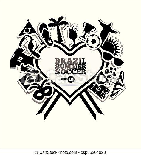 brazília, vektor, ábra - csp55264920