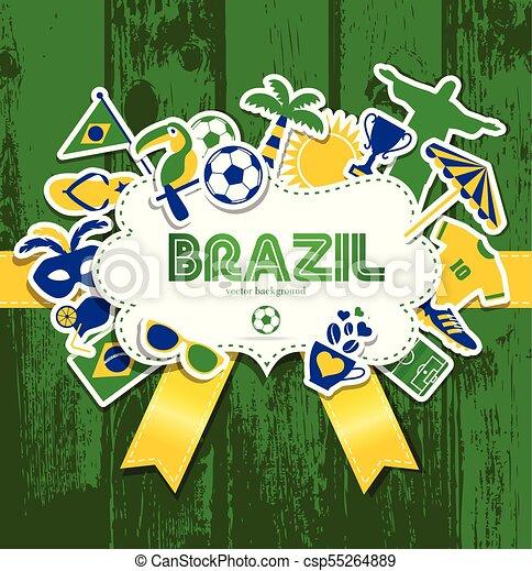 brazília, vektor, ábra - csp55264889