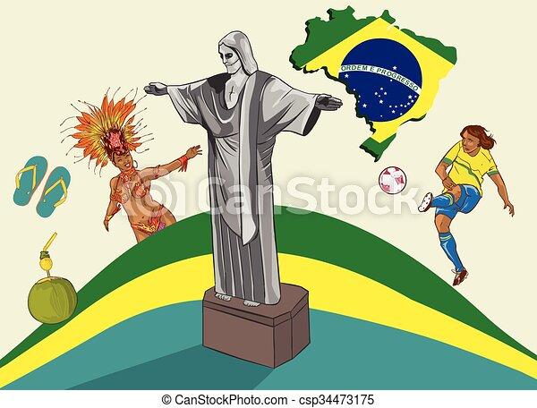 brazília, vektor, ábra - csp34473175
