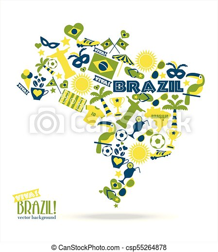 brazília, vektor, ábra - csp55264878