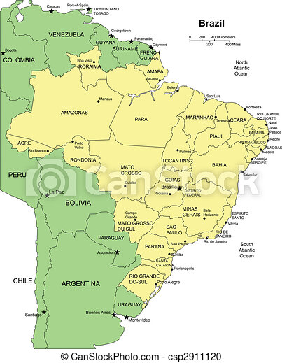 Brazi with Administrative Districts and Surrounding Countries - csp2911120