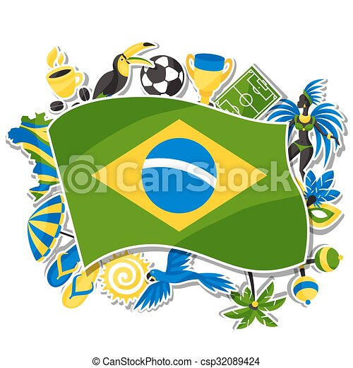 Brazil background with sticker objects and cultural symbols - csp32089424