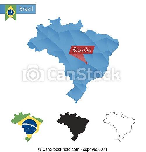 Brazil blue low poly map with capital brasilia brazil blue low poly brazil blue low poly map with capital brasilia csp49656071 gumiabroncs Images
