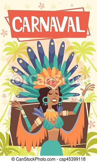 Brazil Carnival Latin Woman Wear Bright Costume Traditional Rio Party